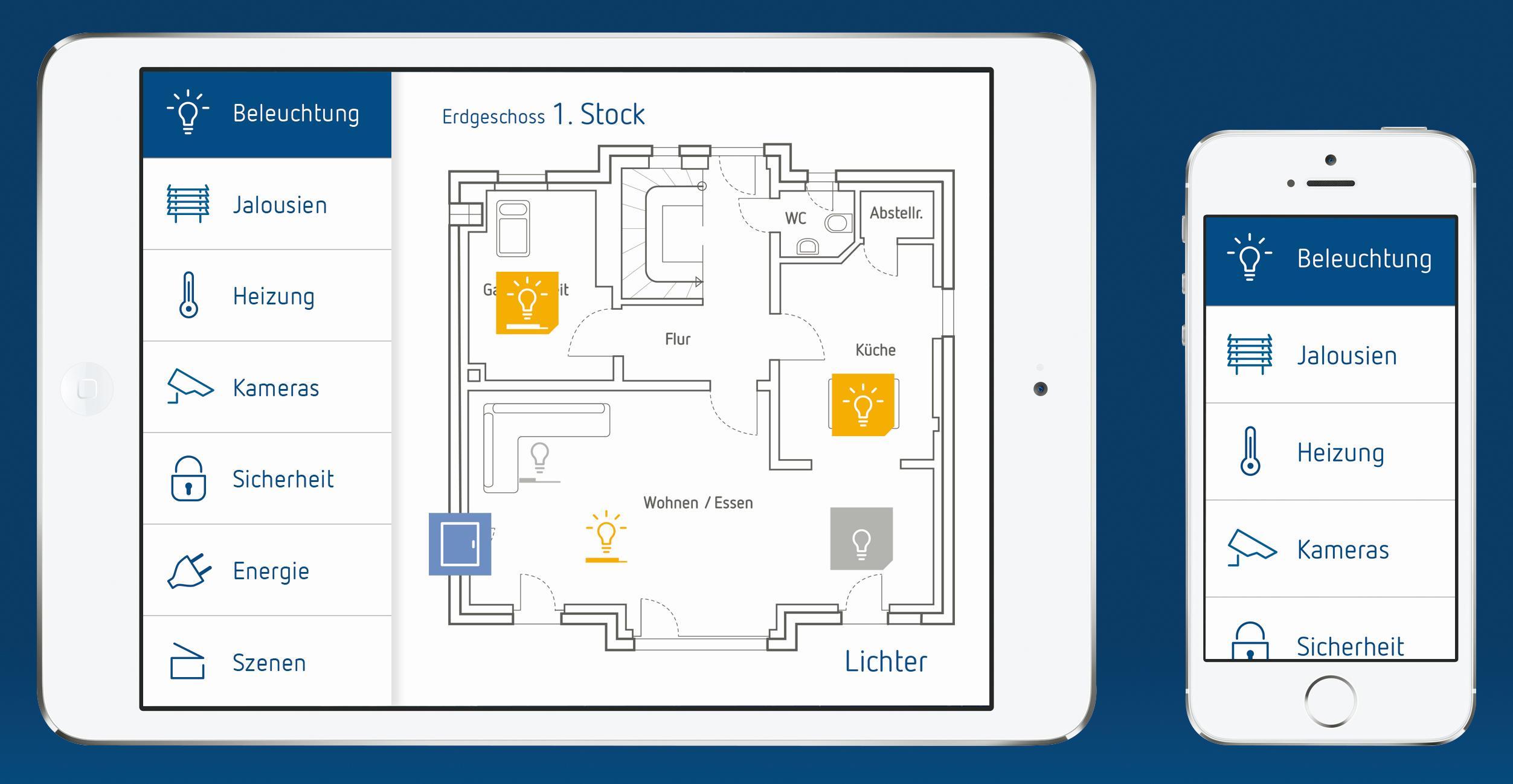 das smart home per app im griff theserva knx visualisierung von theben. Black Bedroom Furniture Sets. Home Design Ideas