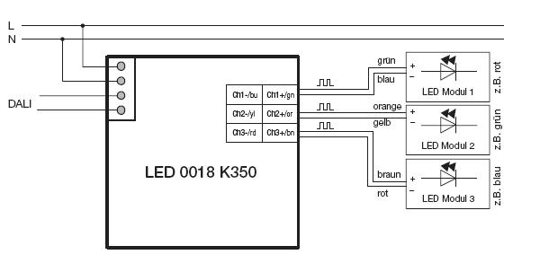 Schaltbild Tridonic LED 0018 K350 DALI RGB