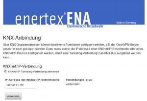 Webinterface zur Konfiguration der KNXnet/IP Schnittstelle