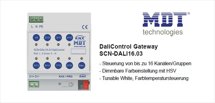 Das erste Dali Gateway mit dimmbarer Farbeinstellung durch HSV Ansteuerung MDT DaliControl Gateway, SCN-DALI16.03